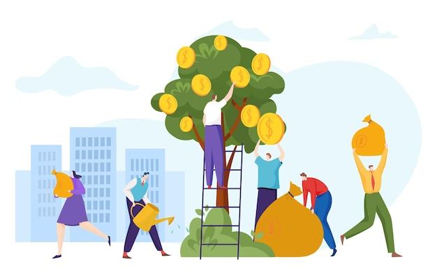 Groep mensen karakter samen voorraad financiële investeerder staan ladder gouden munten boom