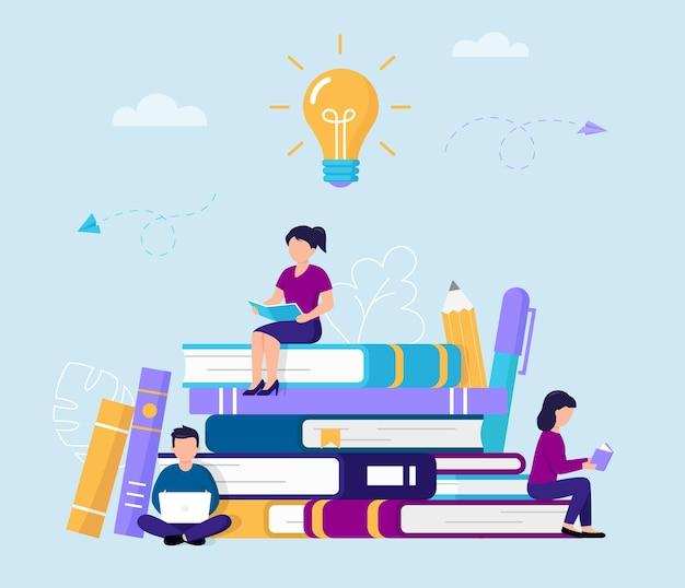Groep mensen lezen en studeren zittend op grote boeken. tekens in vlakke stijl met boeken en computer die kennis opdoen, omringd met pen, potlood, grote lamp.