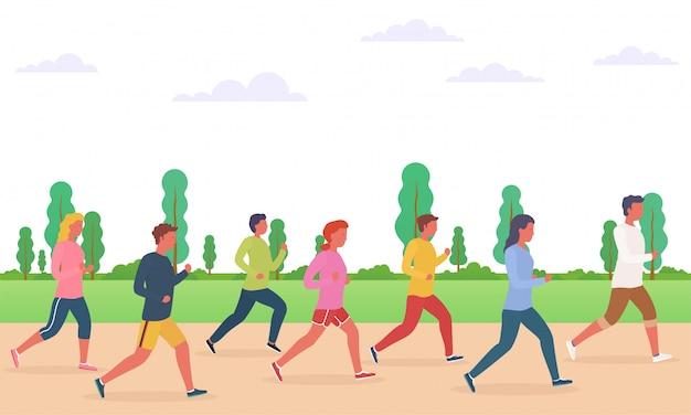 Groep mensen lopen. concept van het runnen van mannen en vrouwen, marathon, joggen.