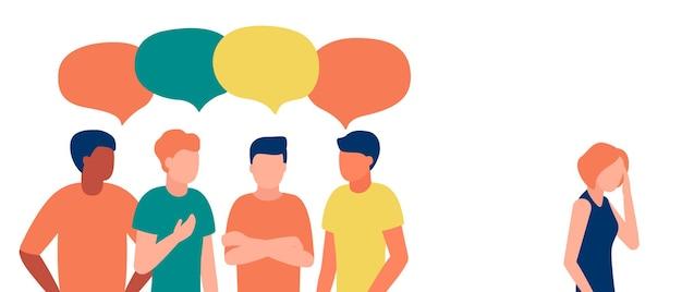 Groep mensen man communiceren pesten beschamen haat misbruik vrouw verstoten discriminatie