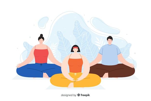 Groep mensen mediteren voor bestemmingspagina