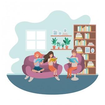 Groep mensen met boek in woonkamer avatar karakter
