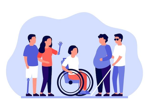 Groep mensen met een handicap die ondersteuning en assistentie nodig hebben
