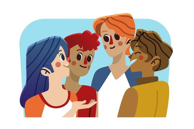 Groep mensen met elkaar praten