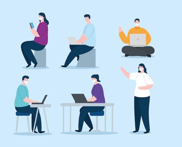 Groep mensen met gezichtsmasker met apparaten elektronica illustratie ontwerp