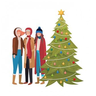 Groep mensen met kerstboom avatar karakter