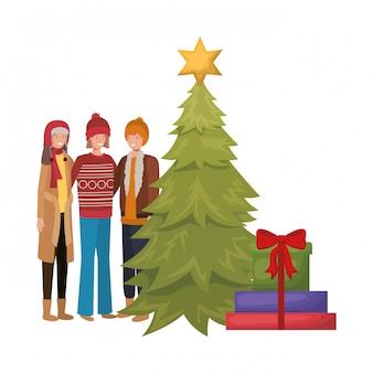 Groep mensen met kerstboom en geschenken