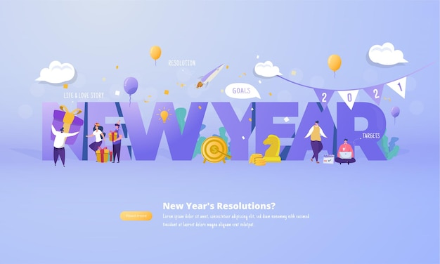 Groep mensen met nieuwe jaarresolutie voor plan toekomstig 2021 concept