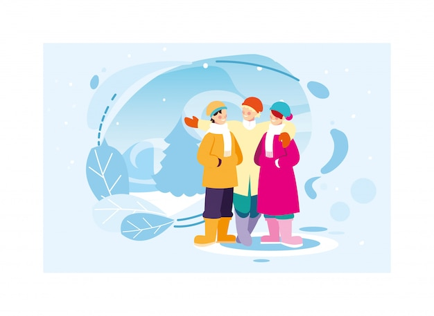 Groep mensen met winterkleren in landschap met sneeuwval