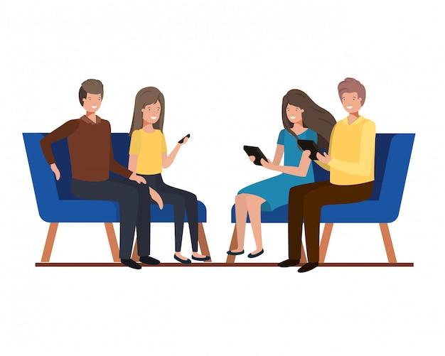 Groep mensen met zittend in stoelen