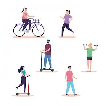 Groep mensen oefenen activiteiten avatar karakters illustratie ontwerp