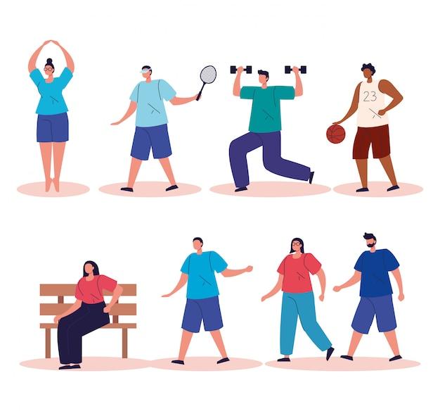 Groep mensen oefenen activiteiten avatar karakters