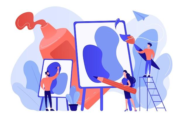 Groep mensen oefenen nieuwe schildervaardigheden op schilderworkshop met apparatuur