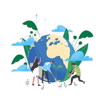 Groep mensen of ecologen die voor de aarde zorgen en de planeet redden