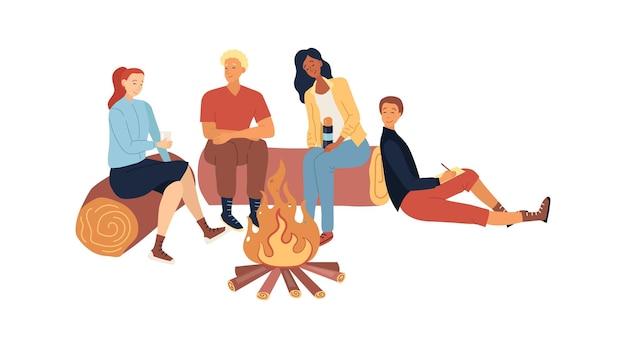 Groep mensen of familie zittend op logboeken