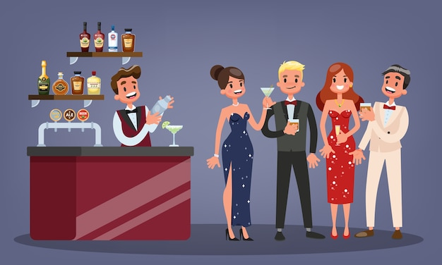 Groep mensen op de cocktailparty. vrouw in mooie jurk