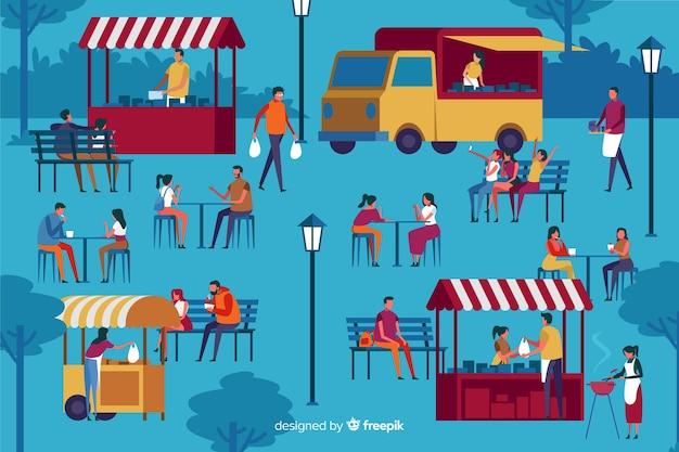 Groep mensen op een nachtmarkt