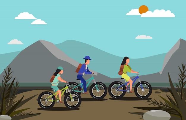 Groep mensen paardrijden mountainbike en natuur scène