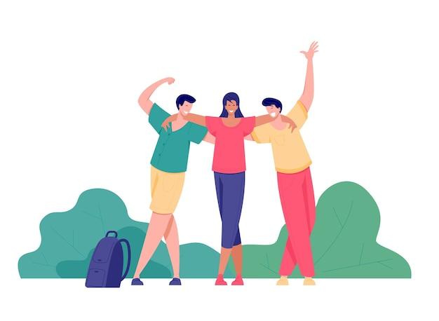 Groep mensen plezier in succes poseren met opgeheven armen op de achtergrond van bomen. reis-, avontuur- of wandelconcept. vlakke stijl illustratie.