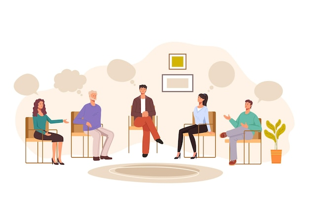 Groep mensen psychologie problemen therapie concept.