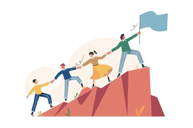 Groep mensen rennen naar hun doel op de heuvel