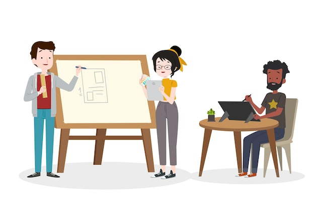 Groep mensen samen ontwerpen