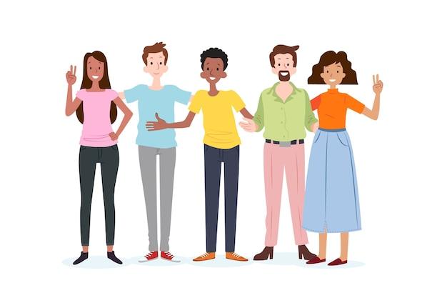 Groep mensen samen poseren
