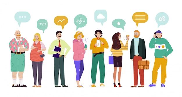 Groep mensen spraak bubbels communicatie illustratie. chatdeelnemers stellen vragen, zoeken muziek, bespreken verschillende onderwerpen.