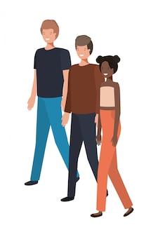 Groep mensen staande avatar karakter