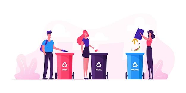 Groep mensen stadsbewoners gooien afval om afvalbakken voor glas, metaal en organisch afval te recyclen. cartoon vlakke afbeelding
