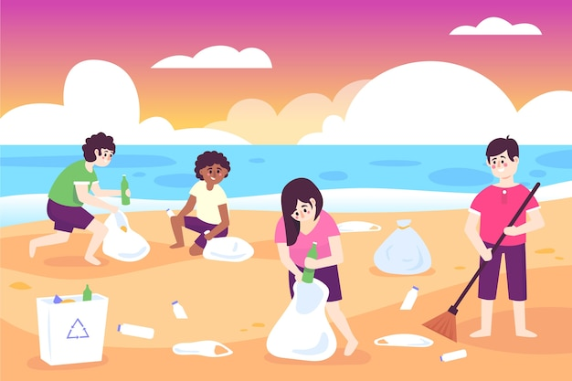 Groep mensen strand schoonmaken