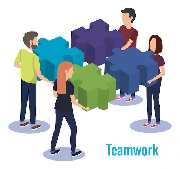 Groep mensen teamwerk met puzzelspel