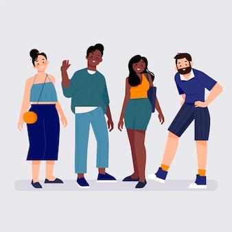 Groep mensen tussen verschillende rassen die vrienden zijn