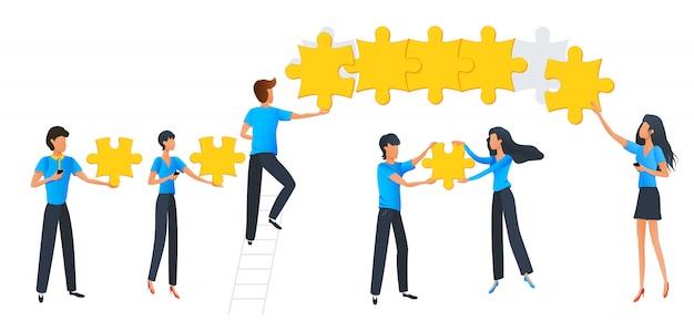 Groep mensen verbinden puzzelelementen