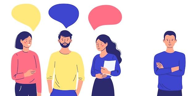 Groep mensen veroordelen, vermijd de verstoten man. introvert in de samenleving. vector illustratie