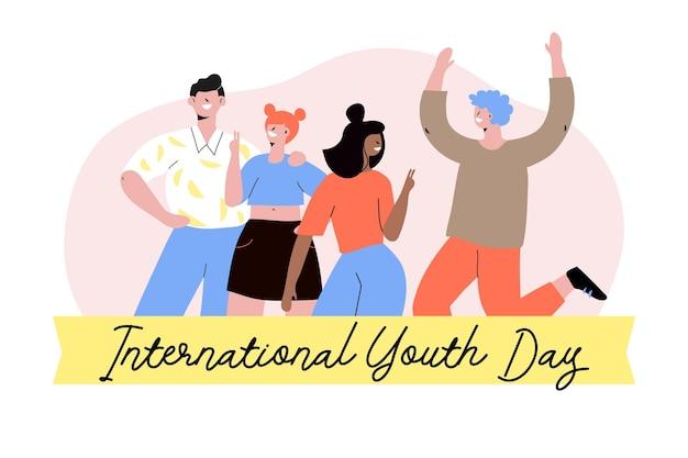 Groep mensen vieren jeugddag