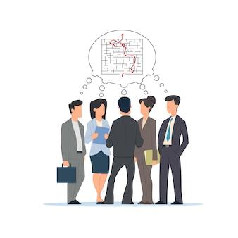 Groep mensen, zakenlieden en zakenvrouw bespreken samen de verwarrende situatie en vinden een uitweg uit het probleem.