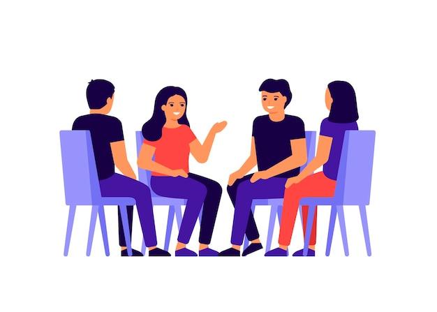 Groep mensen zit in een cirkel, chatten, nieuws, berichten bespreken.