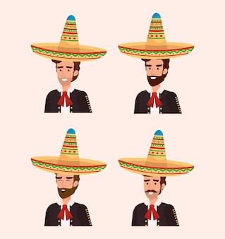 Groep mexicaanse mariachis met instrumenten