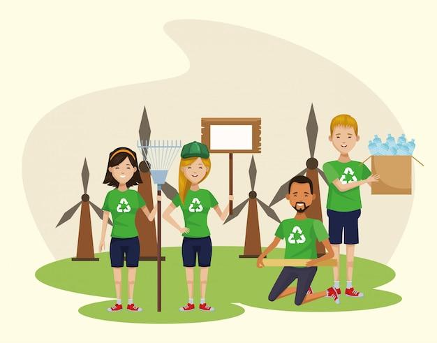 Groep milieuactivisten die karakters recycleren