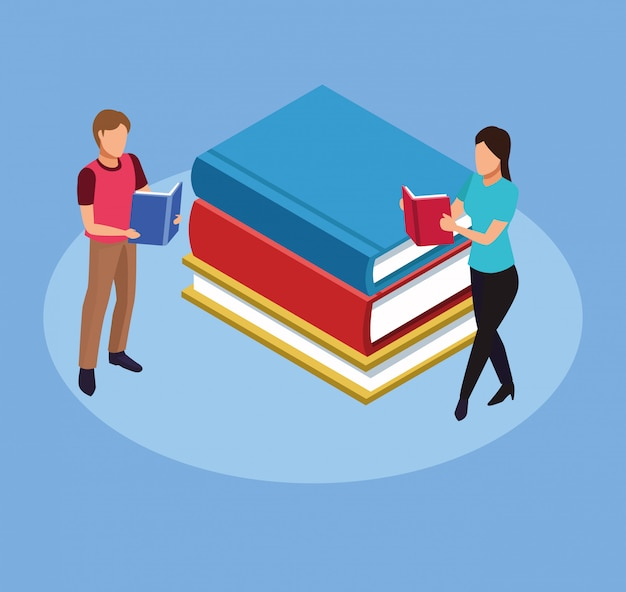 Groep mini mensen die boeken lezen