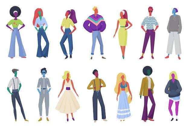 Groep minimalistische abstracte retro mode mensen vintage kleding dragen
