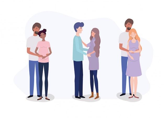 Groep minnaarsparen zwangerschapskarakters