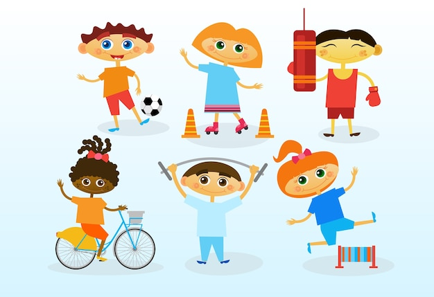 Groep mix race kids, happy smiling diverse kinderen set