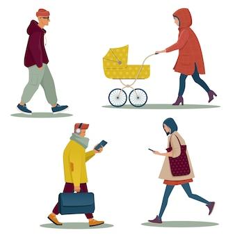 Groep moderne wandelende mensen in vrijetijdskleding. platte vectorillustratie