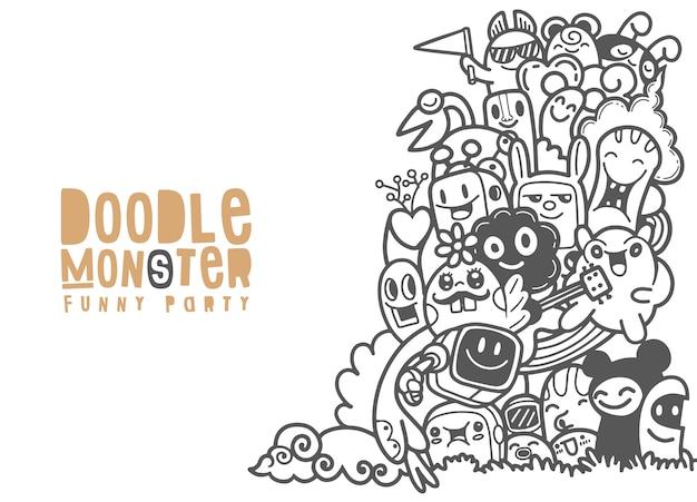 Groep monster voor uw ontwerp. sjabloon voor reclamefolder. grappige doodle