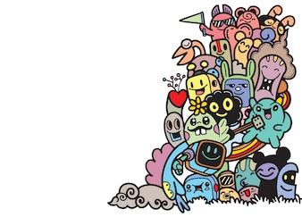 Groep monster voor uw ontwerp