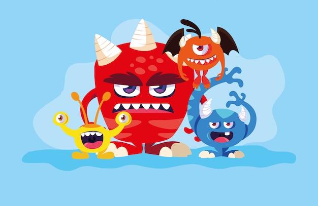 Groep monstersbeeldverhalen