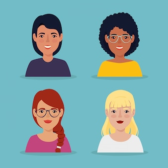 Groep mooi vrouwenavatar karakter