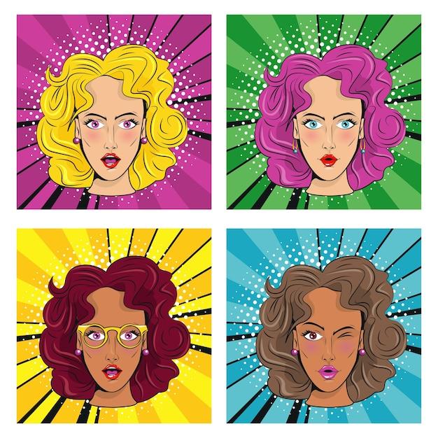Groep mooie meisjes met de pop-artstijl van kleurenharenkarakters.
